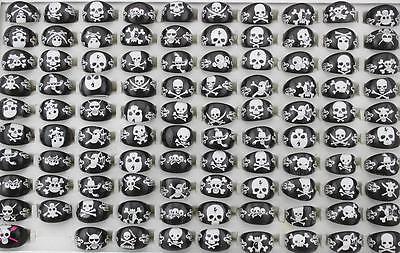 Wholesale lots Jewelry 20Pcs Resin Lucite Mix Skull Child Black Rings FREE Ship