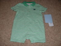 Baby Boys Chaps Green Striped Polo Summer Shorts Romper Size 3m 3 Months