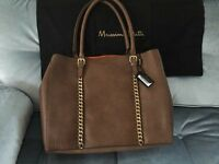 Massimo Dutti Leather Shopper Bag With Gold Chains