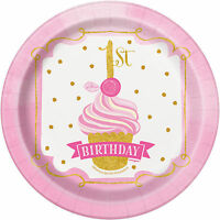 8 x 1st Birthday Pink & Gold Paper Party Plates Girls Age 1 Party Tableware 18cm