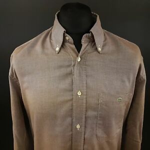 LAcoste-Mens-THCK-Shirt-44-XL-Long-Sleeve-Beige-Regular-Fit-Cotton