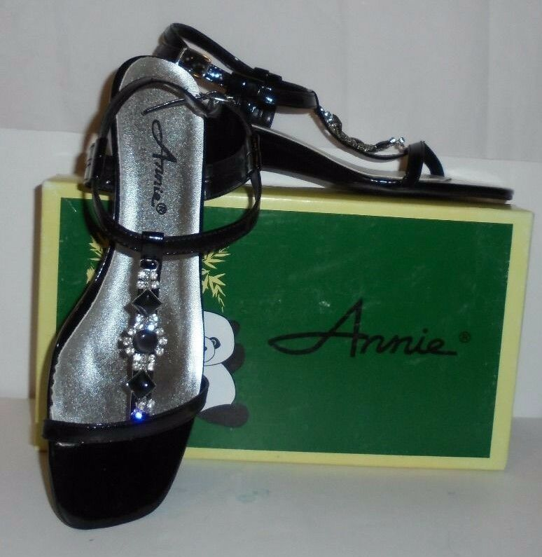 ANNIE RHINESTONE LADIE'S BLACK PATENT LEATHER & RHINESTONE ANNIE SANDALS-NWB STYLE 19320 -9M cbd6f3
