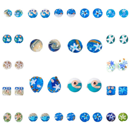 12pcs Ocean Theme Handmade Lampwork Glass Beads DIY Summer Beach Craft 23 Style
