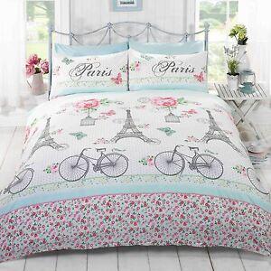 c 39 est la vie paris parure housse de couette king size rose vert literie floral ebay. Black Bedroom Furniture Sets. Home Design Ideas