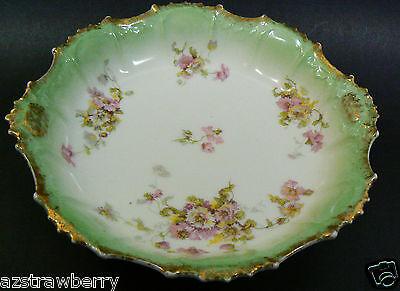 """Vintage Limoges France Floral Light Green Gold trim Plate Bowl 9.5"""" signed"""