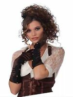Steampunk Adult Size Gloves Brown With Black Lace Long