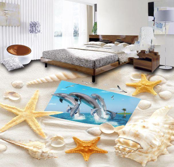 3D Muscheln, Delfinen 4678 Fototapeten Wandbild Fototapete BildTapete Familie DE