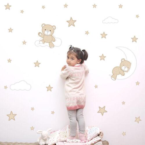 BABY Bear Moon Star Cloud Wall Sticker Bedroom Baby Room Cartoon Art Wall Decal