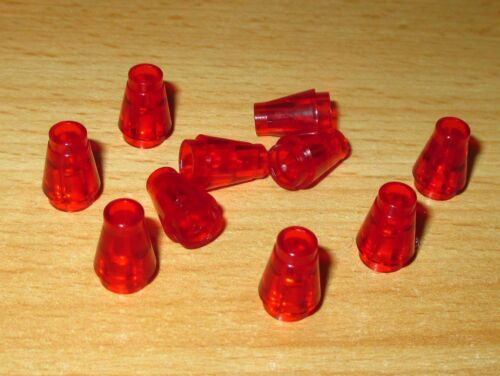 Lego 10 Stück Rund Kegel Steine 1x1 in Transparent Rot