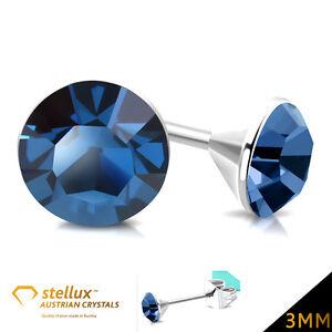 STELLUX-AUSTR-ACO-CRYSTALS-Pendiente-de-boton-MONTANA-AZUL-3mm-1-Par-E177