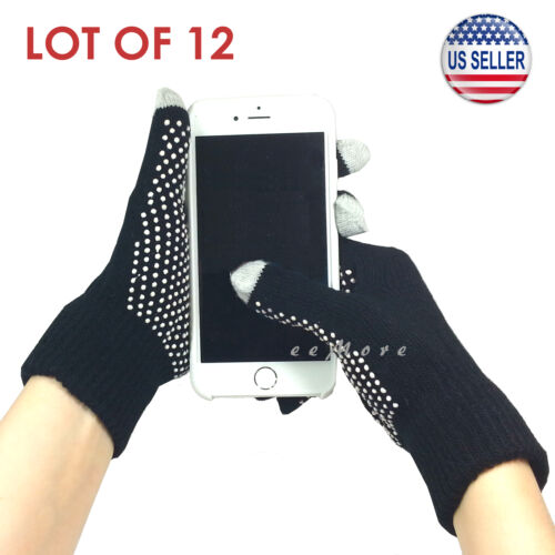 BLACK Wholesale Lot of 12 Touch Screen Gloves Smartphone Tablet Pad US Stock