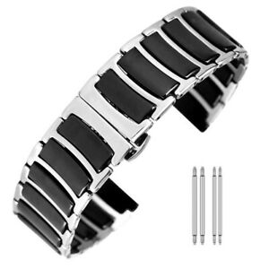 Casual-20mm-22mm-Ceramic-Watch-Band-Stainless-Steel-Wrist-Strap-Straight-End