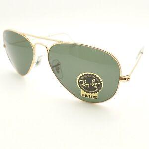 0ba453f79ec6b Ray Ban Aviator 3025 W3234 Gold Green 55mm G15 Sunglasses New ...