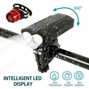 LUCI-BICICLETTA-FARO-FANALE-TORCIA-BICI-RICARICABILE-USB-LED-IMPERMEABILE-MTB