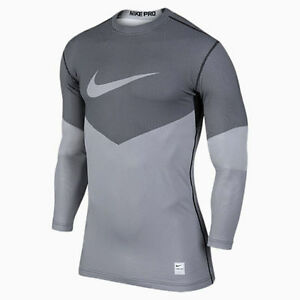 699974-100 New w tag Nike Me PRO HYPERWARM fitted PRINTED Lines crew neck SHIRT