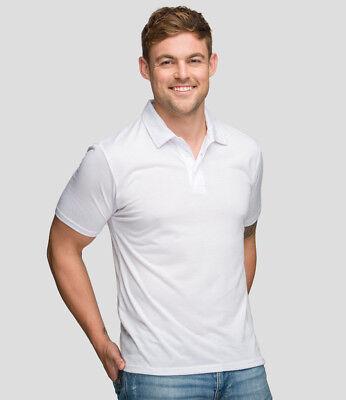 Relaxed Fit AWDis Sub Men/'s WHITE POLO SHIRT 100/% Polyester