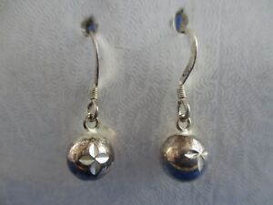 Vintage Silver Tone Dangle Earrings with Speckled Balls