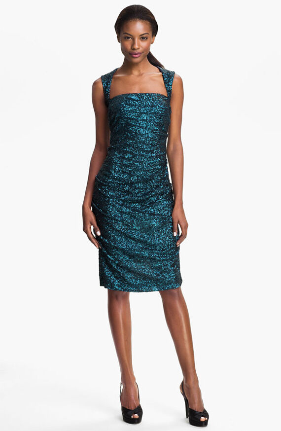 420  Nicole Miller Sequin Ruched Sheath slimming Dress SIZE 0 DARK TEAL
