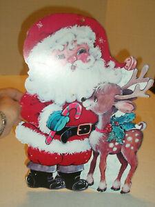 Vintage-Santa-and-Reindeer-Window-Decoration-Pressed-Paper