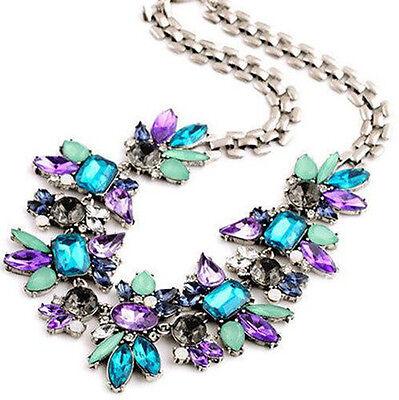 Bib Choker Flower Cluster Pendant Necklace Rhinestone Women's Spring Jewelery
