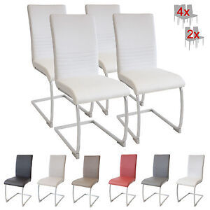 esszimmerst hle murano 4er set weiss freischwinger schwingstuhl stuhl leder ebay. Black Bedroom Furniture Sets. Home Design Ideas