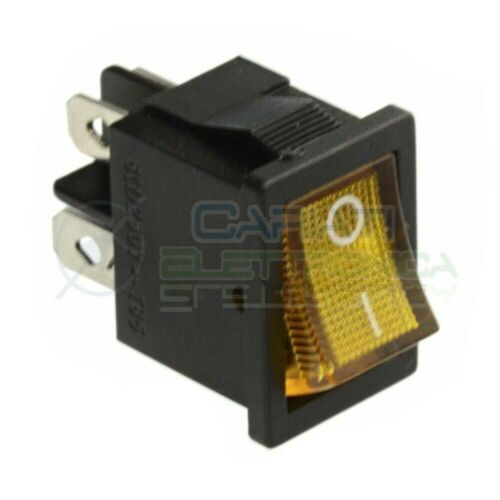 Interruttore Giallo A Bilanciere Bipolare ON OFF 6A 250V Da Pannello Con Luce DP