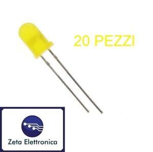 20PZ DIODI LED 3 mm GIALLI LUCE COLORE GIALLO DIODO LED ANCHE PER ARDUINO UNO R3