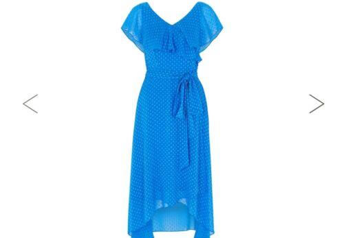 Coast Dobby maat Bnwt 12 Wrap Blue Jurk 17A1f