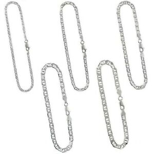 Marina Chain Necklace or Bracelet Mariner Sterling Silver 3.7mm Flat Anchor