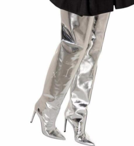 femmes long au miroir en miroir bottes cuir Talon verni haut métallisé genou IHE2D9WY