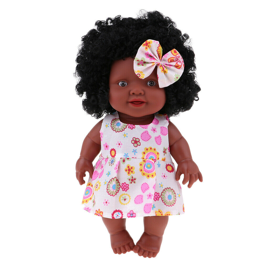 """10"""" Reborn African American Doll Full Vinyl Baby Doll Toy with Clothes, Hair"""