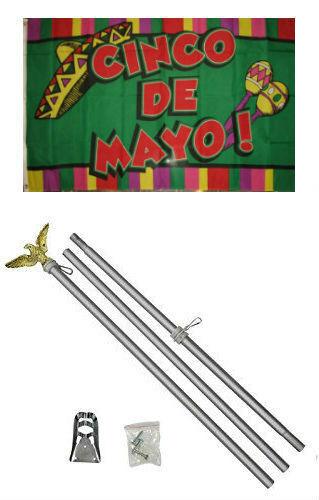 3x5 Cinco De Mayo Flag Aluminum Pole Kit Set 3/'x5/'