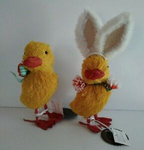 FAO SCHWARTZ Set of 2 Easter Chicks with White Bunny Ears &  Flowers Yellow NWT