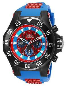 Invicta-25689-Marvel-Spiderman-Men-039-s-52mm-Black-Steel-Red-Blue-Dial-Watch