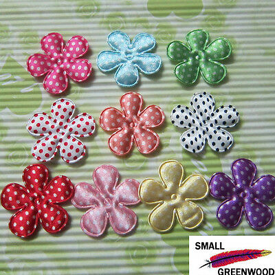 "(U Pick) Wholesale 50-500 Pcs. 1-3/8"" Felt Dots Satin Flower Appliques F2100B"