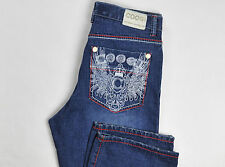 Coogi Mens Jeans Blue Cotton 36X34 Colorful Embroidery Wide Leg