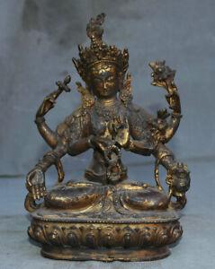"9.6 ""Ancien Temple du Bouddhisme du Tibet Bronze Doré à 6 Bras Kwan-Yin Yin"