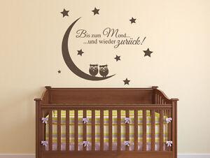 wandtattoo kinderzimmer bis zum mond und wieder zur ck spr che babyzimmer ebay. Black Bedroom Furniture Sets. Home Design Ideas