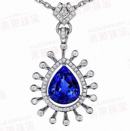 SOLID 18Kt WHITE gold NATURAL GORGEOUS blueE TANZANITE DIAMOND WEDDING PENDANT