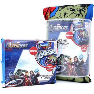 Marvel Avengers 4pc Doppel Bettwäsche Kuscheldecke Set Iron Man