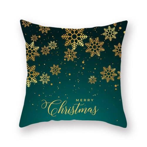 Merry Christmas Green Stars Pillow Case Ornament Cushion Covers Home Sofa Decor