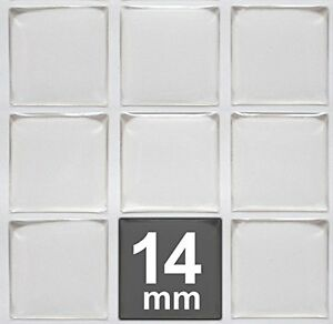 14mm Square Clear Epoxy Stickers - Tiles Domes Dots Seals - FREE SHIPPING