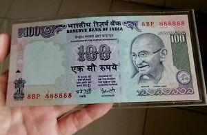 1998-India-100-Rupees-Super-Solid-Number-8BP-888888-AU-UNC-Demonetized