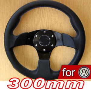 300mm-VOLANT-Tuning-Noir-pour-VW-Golf-I-1-II-2-II-3-IV-4-V-5-GTI-Polo-6N-6N2-9N