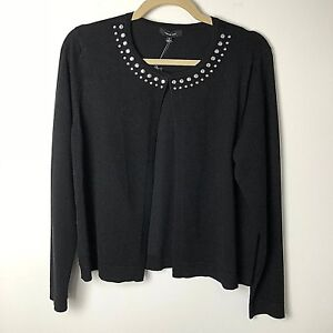 NWT-Verve-Ami-Sweater-Womens-Single-Hook-at-Top-Silver-Beads-at-Nec-Size-M-Black