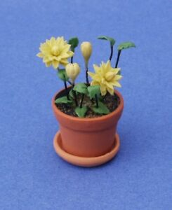 Miniature Dollhouse Flowers Plant Yellow White /& Blue 1:12 Scale New