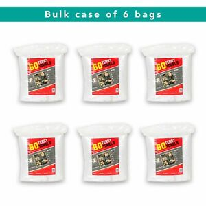 Case of 360 Terry Towels - 6 Bags of 60 All Purpose Cleaning Grade Rags - White