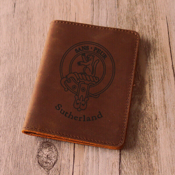 Sutherland Clan Leather Passport Cover - Scottish Wallet Genuine- Handmade