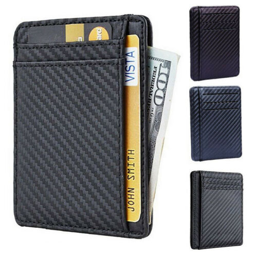 Men RFID Blocking Leather Slim Wallet Money Clip Credit Card Holder Coin Pockets