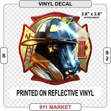 Dalmatian Sitting Firefighter Helmet on Reflective Decal Car Truck Sticker  S 98